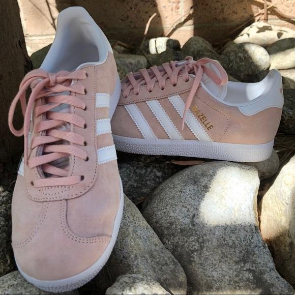 Baby pink Adidas Gazelles